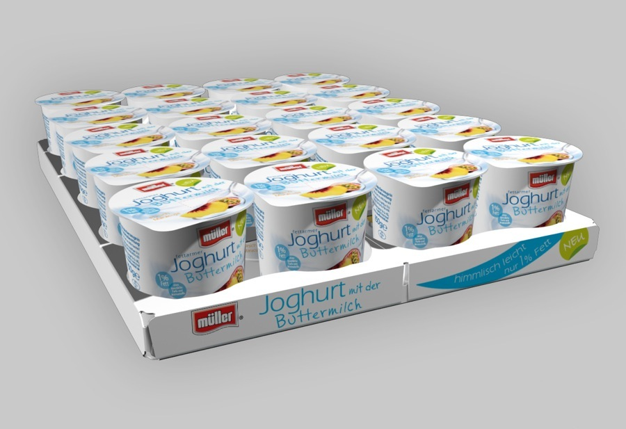 Rendering of a tray fully loaded with yoghurt cups